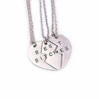 Best Bitches Necklaces For 3&2 Broken Heart Hand Stamped Letters Heart Pendant for Best Friends Friendship Gift