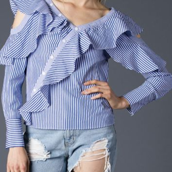Banker Stripe Cold Shoulder Blouse