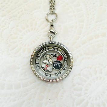 Daughter She believed she could so she did class of 2016  stainless steel memory locket with choice of stainless steel chain