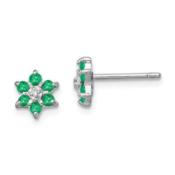 Sterling Silver Genuine Emerald And Diamond Post Earrings