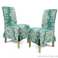 Adeco Side/ Dining Fabric white Flower Dining Chair Blue Bottom Tufted European Style (Set of 2)
