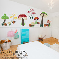 Mushroom fields nursery wall decal, nursery decor, playroom wall decal, nursery decals, kids wall decal, mushroom wall decal, acorn decal