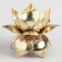 Gold Lotus Flower Tealight Candleholder