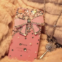 Iphone 4S case Iphone 4 bow Case Pearl iPhone 4 case crystal iphone 4 bling case cute iphone 4G 4S Pink case cover pink Bow