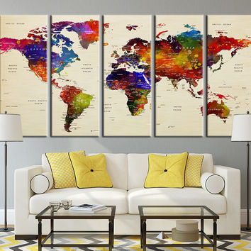 Push Pin Travel World Map Art - Colored Countries Watercolor World Map Canvas Art, Countries World Map Art Print No:038