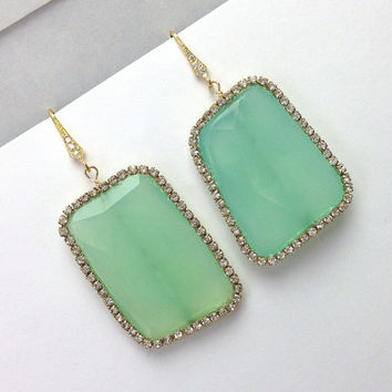 Aqua Chalcedony Slice Earrings Gemstone Slice Earrings Diamond Look Swarovski Crystal Aqua Statement Earrings - Loretta