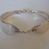 Silver Spoon Bracelet Recycled Silverware Jewelry Lady Hamilton Hammered Made to Order