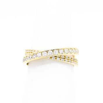 Crossed lines ring