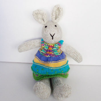 Boho Easter Bunny, Hand Knit Stuffed Animal, Ready To Ship, Baby Girl Gift, Toddler Child Kids Toy, Plush Bunny Rabbit Doll in Dress 15""