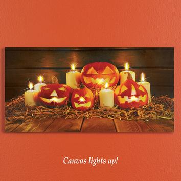 Lighted Jack O Lantern Wall Canvas