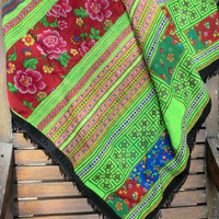 Boho Throw Blanket, Picnic Blanket, Sofa Throw Green Hmong Embroidered With Fringe Bohemian Decor