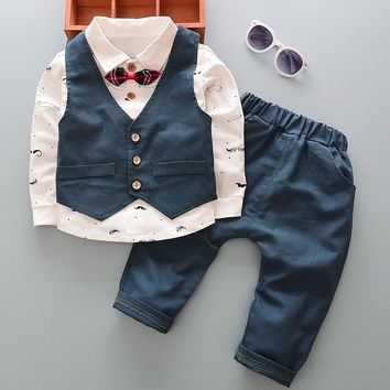 Newborn baby spring boys 3pcs clothing set toddler cotton gentleman suit for boys infant casual sport suits baby boys autumn set