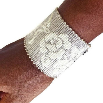 Hand Beaded White Rose Lace Cuff Bridal Bracelet