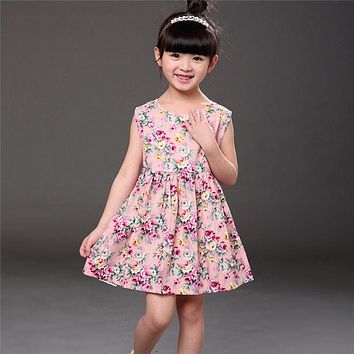 Girls Sleeveless Floral Dress Children Spring Flower Princess Dress