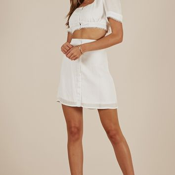 Major Vibes Two Piece Set in White Produced By SHOWPO