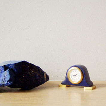 Vintage miniature clock, lapis lazzuli gemstone, late eighties clock with brass trimmings