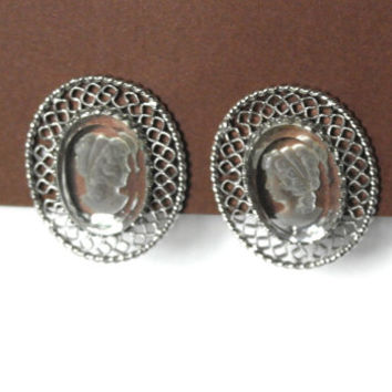 Whiting & Davis Earrings, Vintage Earrings, Cameo Earrings,Silver Tone Clip Earrings,Crystal Earrings,High End Vintage Jewelry,Bride Jewelry