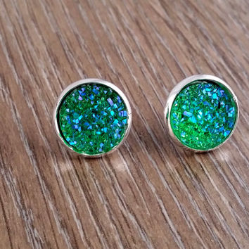 Druzy earrings- ab green drusy silver tone stud druzy earrings