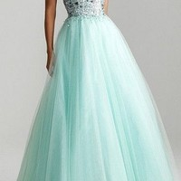 Beading Mint Tulle Wedding Bridesmaid Dress Long Prom Formal Party Evening Gowns