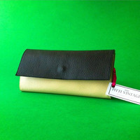 Minimal Wallet Womens Vegan leather black and ivory handmade in Italy