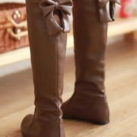 New Women Light Brown Round Toe Flat Bow Knee-High Casual Boots