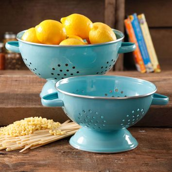 The Pioneer Woman Flea Market 2-Pack Metal Colander, 3-Quart and 5-Quart - Walmart.com
