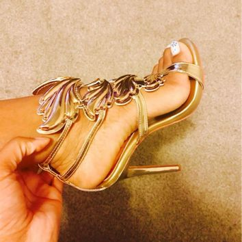 Women Metallic Winged Gladiator High Heels Sandals