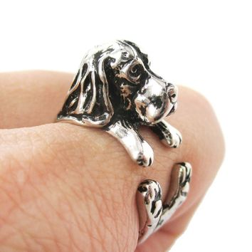 3D Basset Hound Dog Shaped Animal Wrap Ring in Shiny Silver | Sizes 4 to 8.5