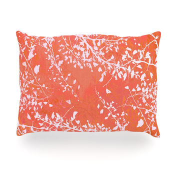 "Iris Lehnhardt ""Twigs Silhouette Coral"" Orange Oblong Pillow"
