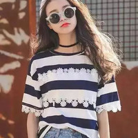 Floral Embroidery Lace Striped Print Short Sleeve T-Shirt