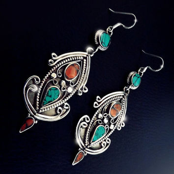 Vintage Nepalese earrings, sterling silver, turquoise and coral earrings, boho jewelry, tibetan jewelry, mosaic jewelry, antique nepalese