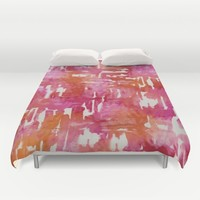 Mystic Cloud 9: Red Multi Duvet Cover by Eileen Paulino