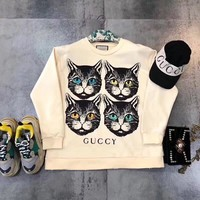 """Gucci"" Women All-match Casual Four Cat Head Pattern Letter Print Long Sleeve Sweater Tops"