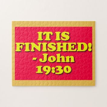 Bible verse from John 19:30. Jigsaw Puzzle