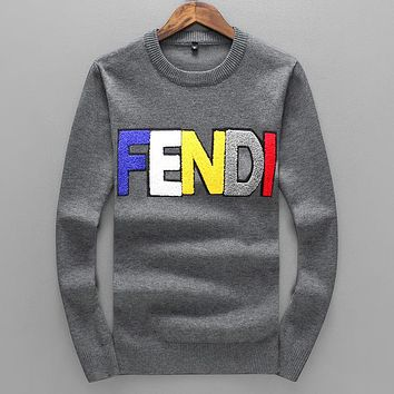 FENDI Autumn Winter Newest Popular Women Men Casual Letter Long Sleeve Sweater Pullover Top Sweatshirt Grey