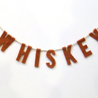 Whiskey Felt Party Banner in Burnt Orange