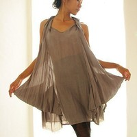 AliceSilver Gray mix silk dress SM LXL by cocoricooo on Etsy