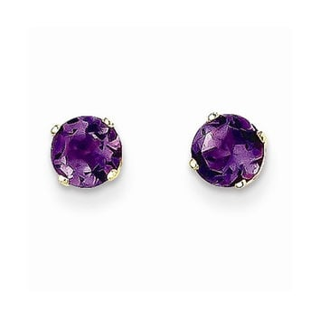 14k Yellow Gold Amethyst Birthstone Earrings