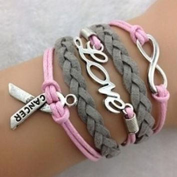 The Greatest Warrior Breast Cancer Awareness Charm Bracelet