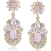 Carolee Gemstone Garden Dramatic Drop Clip-On Earrings - Gold/Pink