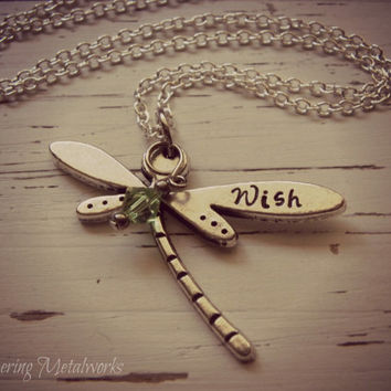 WISH  dragonfly metal stamped necklace - pewter- you choose crystal color - with silver plated chain