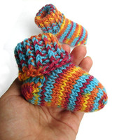 Striped baby socks autumn colors baby booties newborn to 12 month