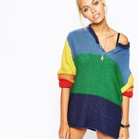 UNIF Oversized Jumper With Button Front In Rainbow Colour Block