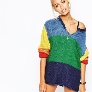 e74daf059a3 UNIF Oversized Jumper With Button Front In Rainbow Colour Block