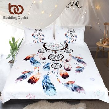 BeddingOutlet Dreamcatcher Bedding Set Queen Chic Duvet Cover Set Watercolor Boho Floral Bedclothes Bohemian Home Textiles 3pcs