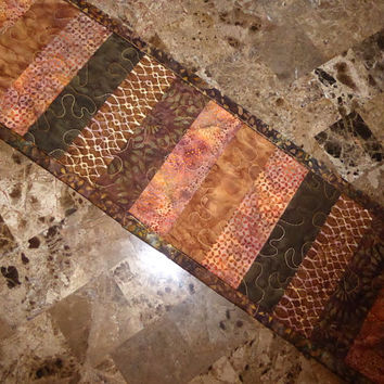 Handemade Quilted Table Runner - Earthy Batiks Home Decor