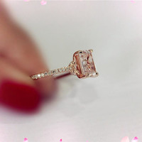 5x9mm Emerald Cut Morganite Ring 14K Rose Gold SI/H Diamonds Engagement Wedding Ring   Anniversary Ring