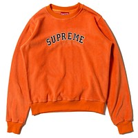 Supreme Fashion Women Men Casual Print Cotton Velvet Sweater Top Orange