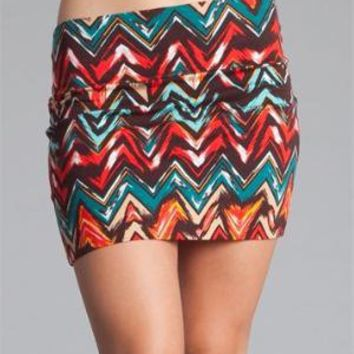 Zig Zag Tribal Print Mini Skirt