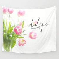 Pink tulips Wall Tapestry by Sylvia Cook Photography